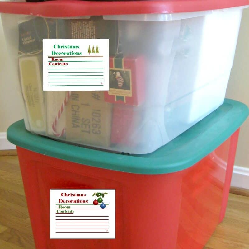 Use these free printable Christmas labels to identify your decoration storage boxes. Organization will help