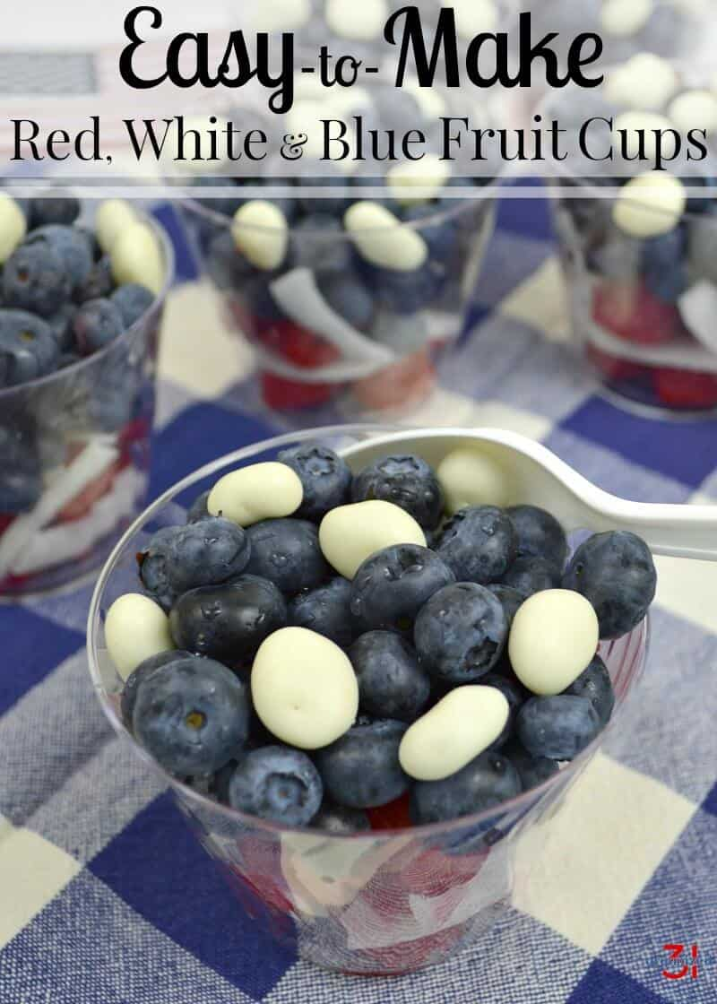 Red White Blue Desserts for the 4th of July. Easy-to-make fruit cups that are adorable and delicious. #ad