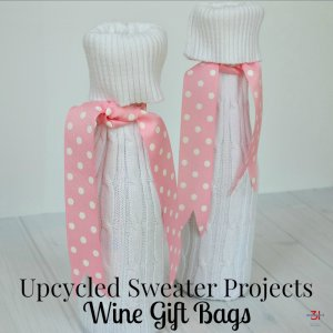 Upcycled Sweater Projects Wine Gift Bag