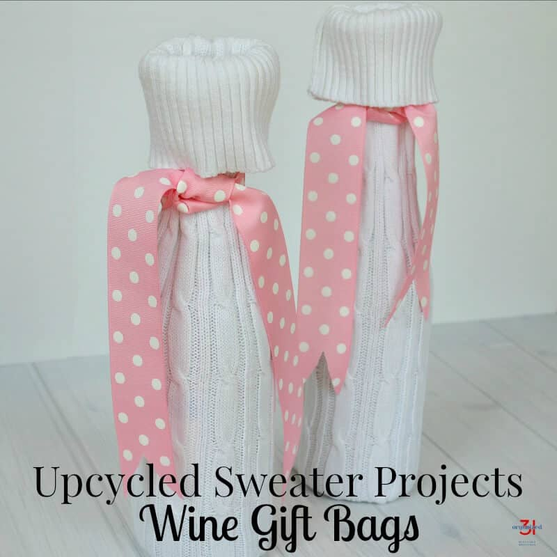 Make unique and cozy gift bags with a recycled sweater. An easy-to-make upcycled sweater projects wine gift bag tutorial that you can make in 15 minutes.