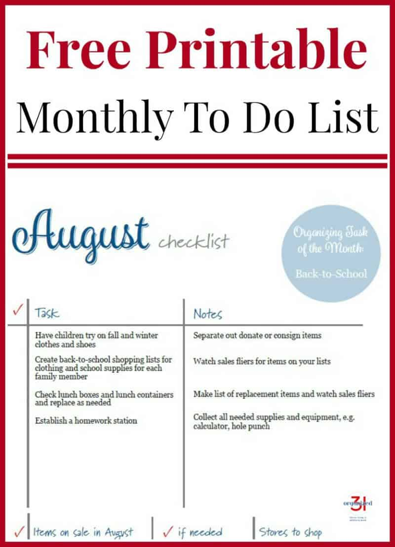 August To Do Checklist Free Printable to organize your home and life month by month.