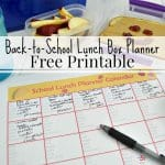 school lunch planning calendar with black pen and school lunch, image has text overlay