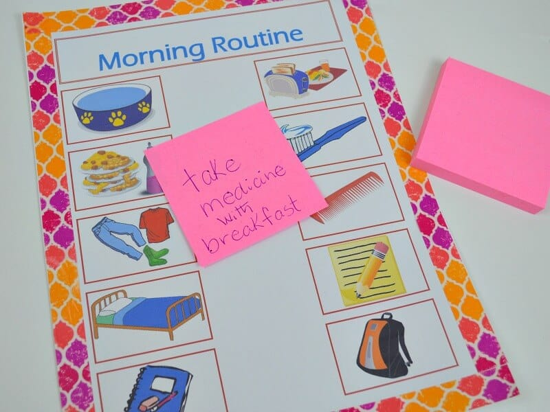 morning routine print-out with graphic tape border and sticky note reminder