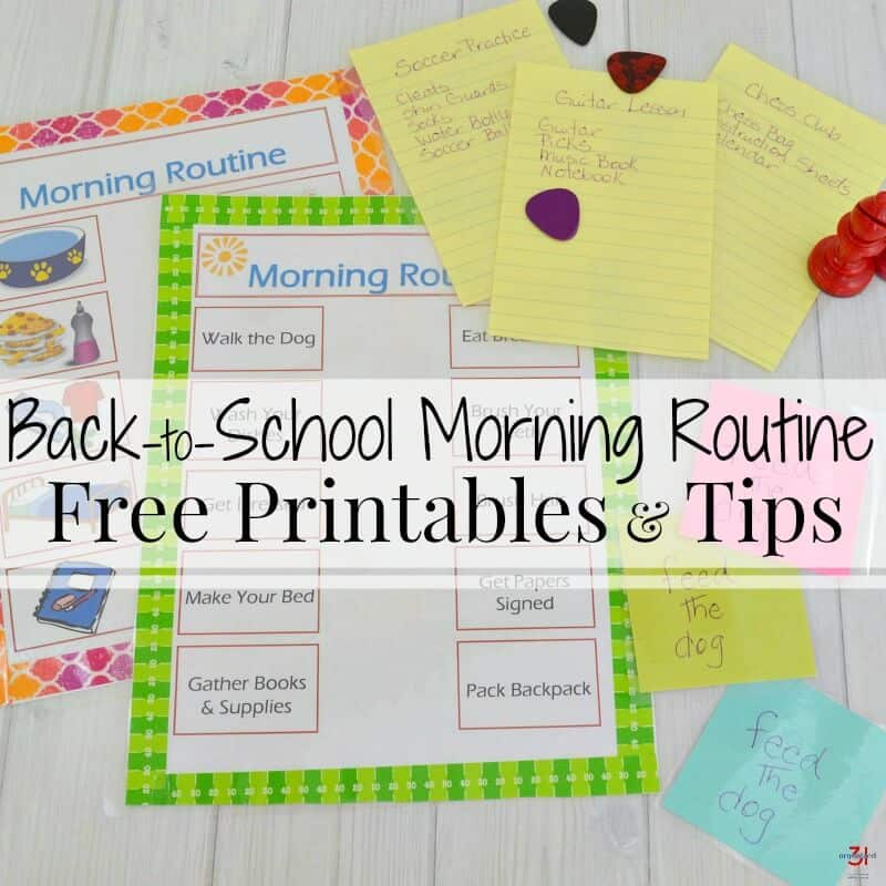 morning routine print-outs and sticky note reminders with guitar picks and chess pieces