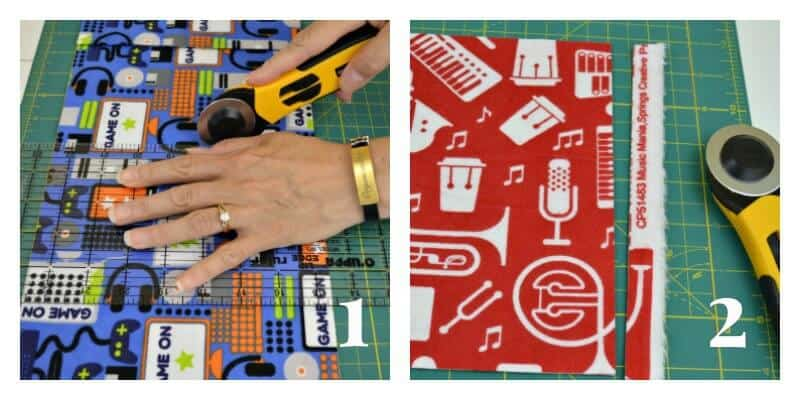 right image - hand holding fabric and rotary cutter, left image - red fabric on cutting board with piece removed and rotary cutter
