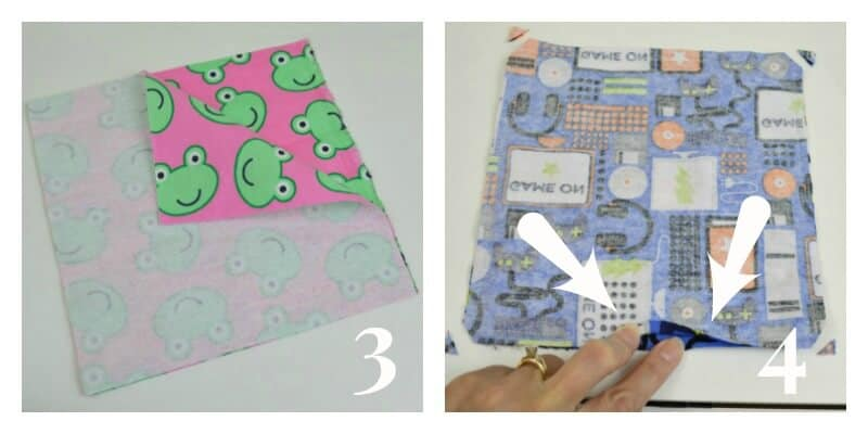 left image - square of fabric with corner folded back to show pink fabric with green frog, right image - fabric square with hand showing opening and arrows pointing to the the opening