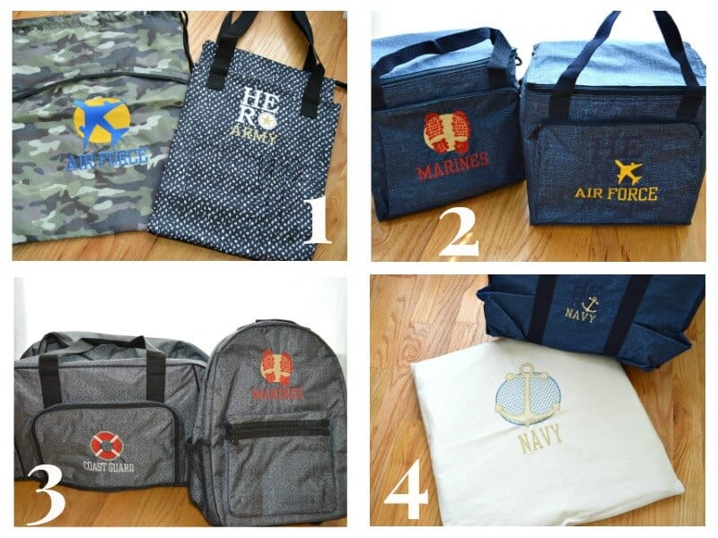 collage of tote bags and backpacks with military logos and text