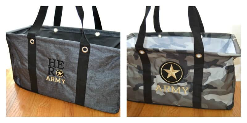 "2 images of grey tote bags with ""Army"" embroidered on them"