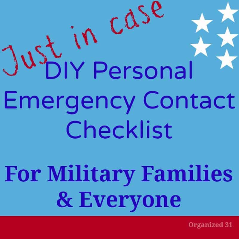 red white and blue graphic: DIY emergency contact list