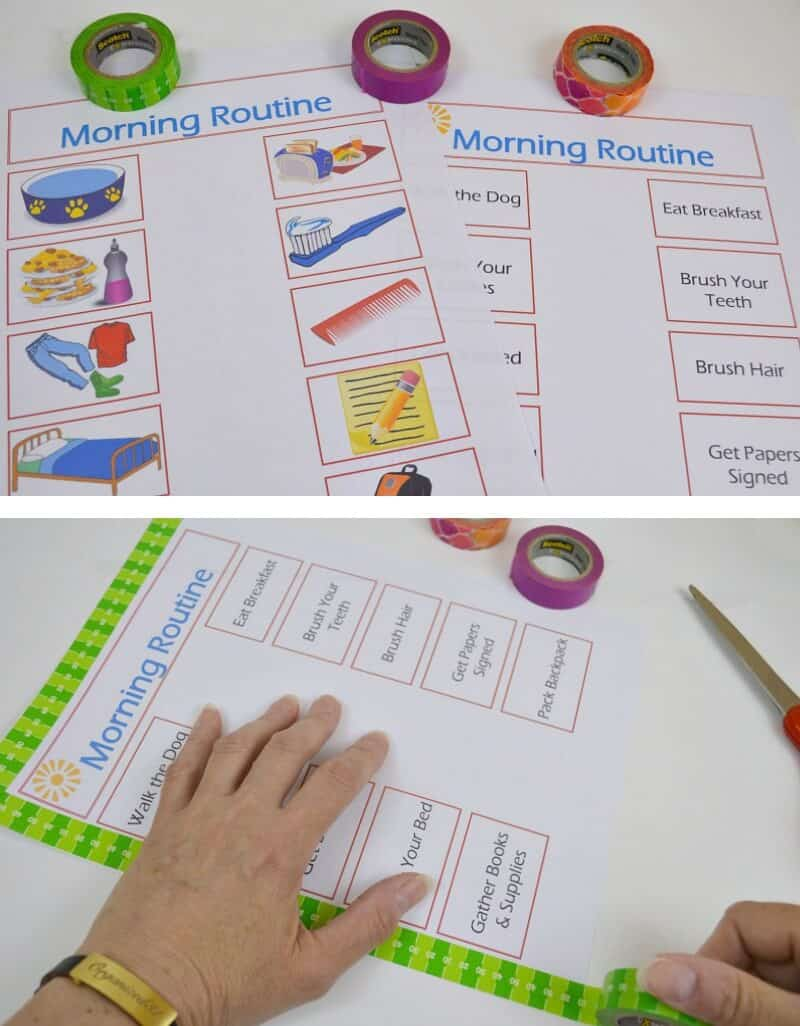 Set the goal of establishing responsibility and independence in your children with these Back-to-School Morning Routine free printables and tips. #BacktoSchoolGoals [ad]