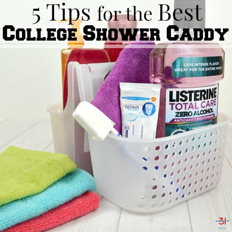 close up of shower caddy filled with personal care items and stack of colorful wash cloths next to it with title text reading 5 Tips for the Best College Shower Caddy