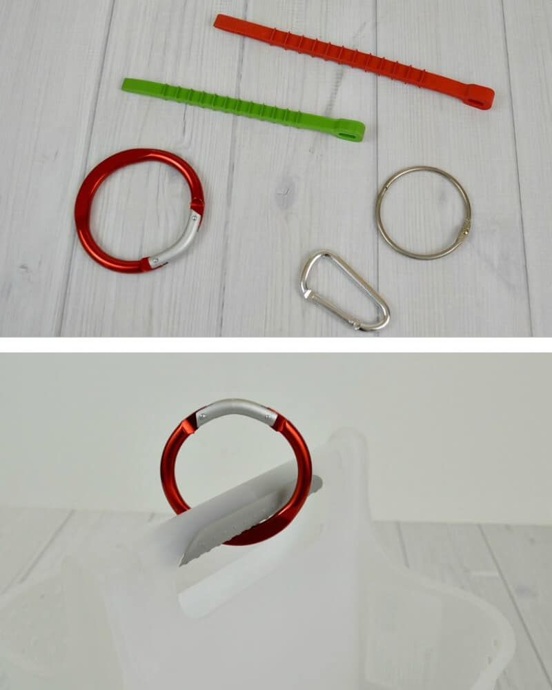 top image of rings and rubber ties, bottom image - red ring attached to handle of shower caddy