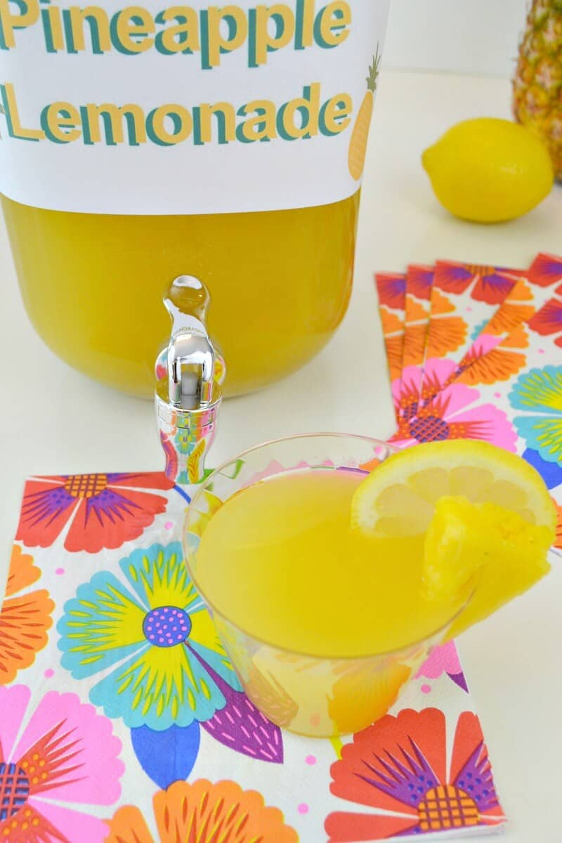 A super easy pineapple lemonade recipe that is refreshing on a hot day. It's perfect for an afternoon treat and easy to make in big batches for a party. Perfect for a Hawaiian luau. #SummerRefreshment #Peapod [ad]