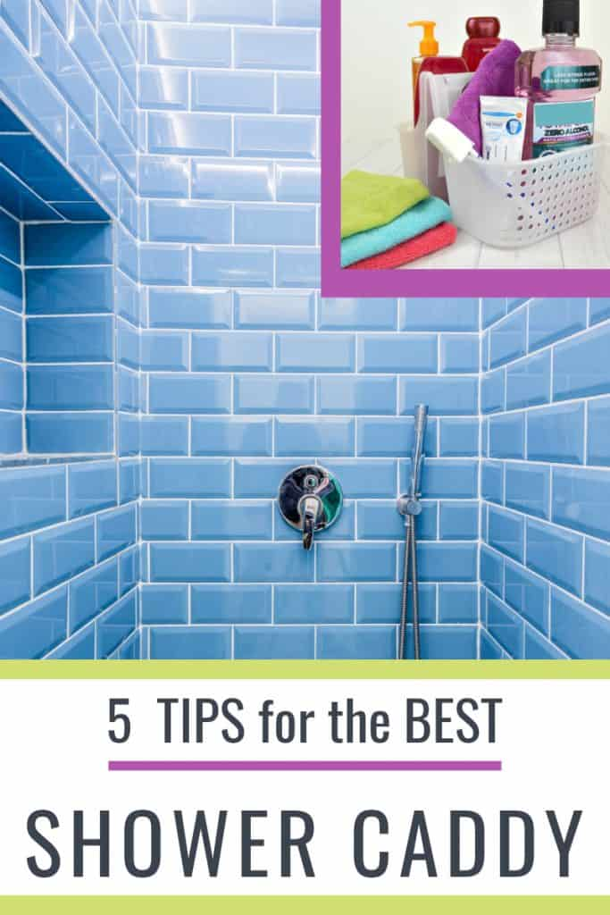 blue tile shower with insert of shower caddy image