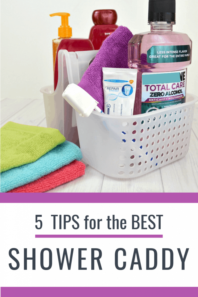 shower caddy with stack of colorful washcloths