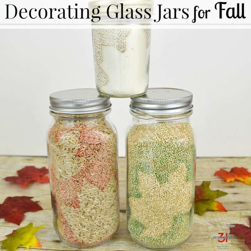 Simple enough for the craft challenged but lovely enough to impress. Decorating glass jars for fall make your pantry and kitchen counter cozy and festive. #SKSHarvest #SeasonalSolutions {ad}