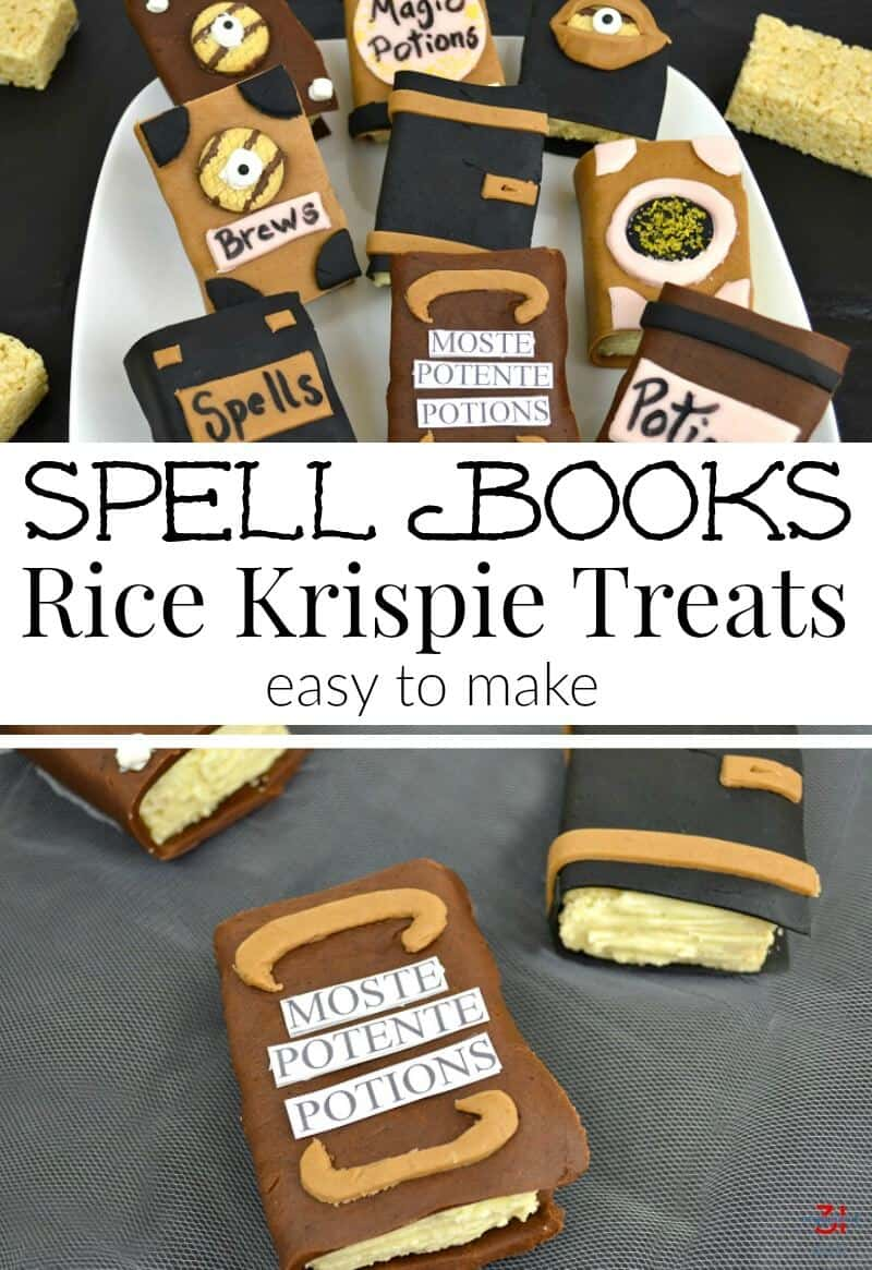 Halloween Rice Krispie Treats Ideas that look like wizard spell books are easy to make. Really! Make them to look like your favorite fantasy book or movie. [ad] #SnackItAndPackIt #SeasonalSolutions