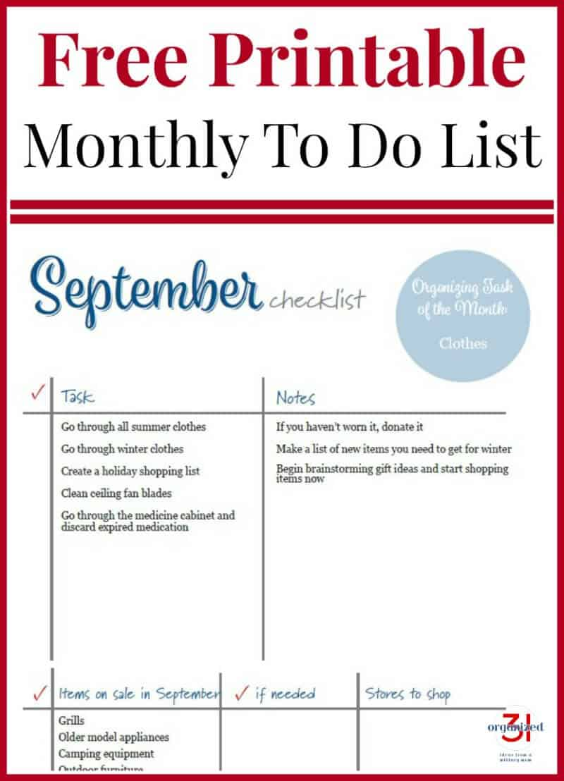 September To Do Checklist Free Printable to organize your home and life month by month.  #printable #checklist
