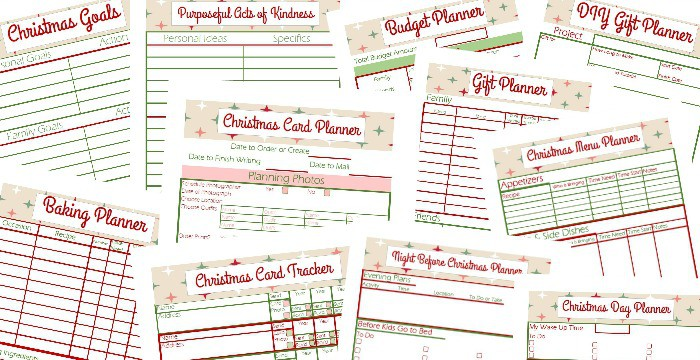 Close up of 11 worksheets and checklists from a free Christmas planner
