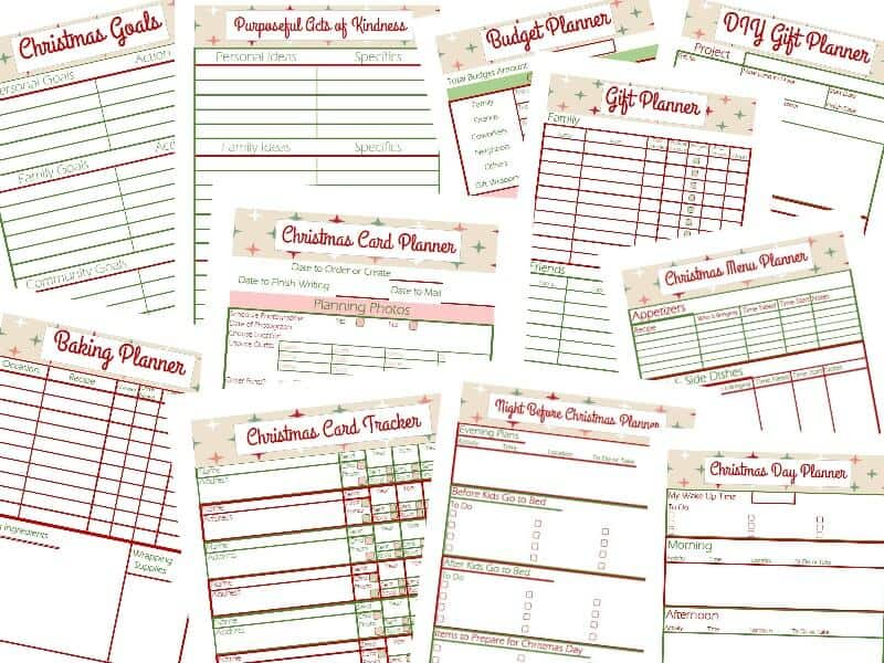 horizontal collage of images of checklists in Christmas planner