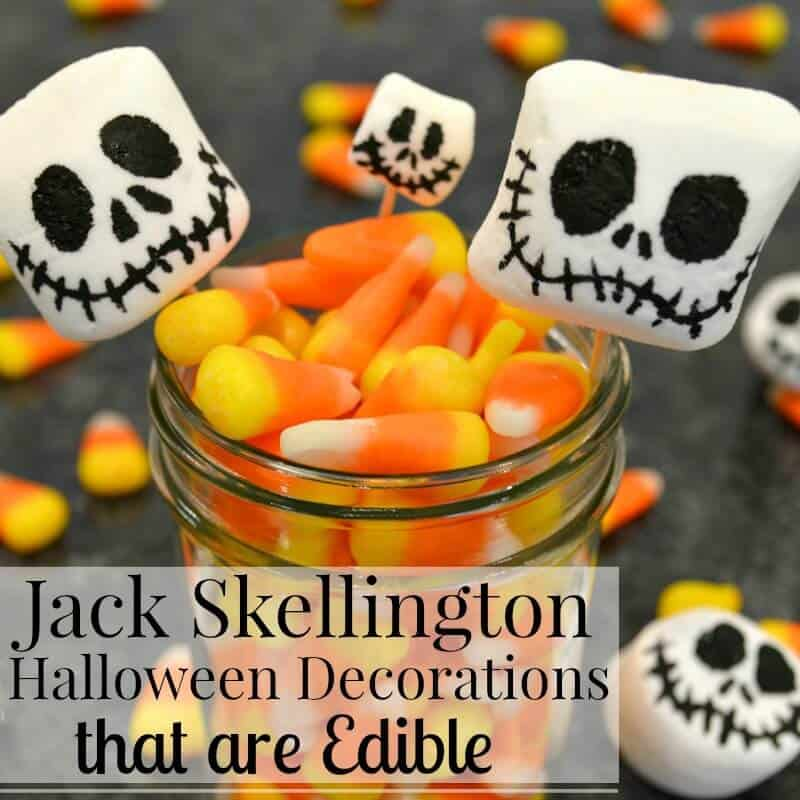 Skelleton face on marshmallows with candy corn and text overlay