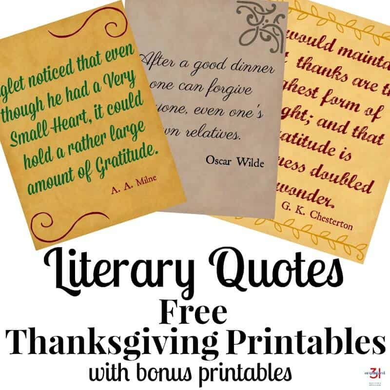 thanksgiving printables literary quotes organized