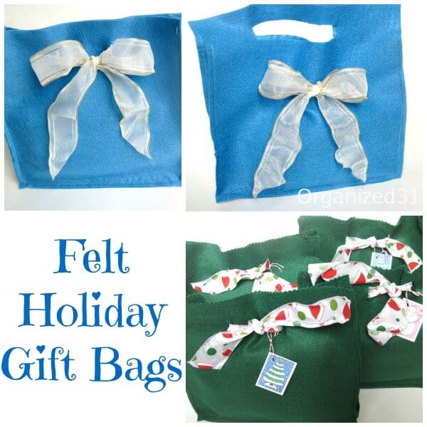 Felt Holiday Gift Bags for Christmas or Hanukkah - Easy-to-Make Beginner Sewing Project - Gift Wrapping