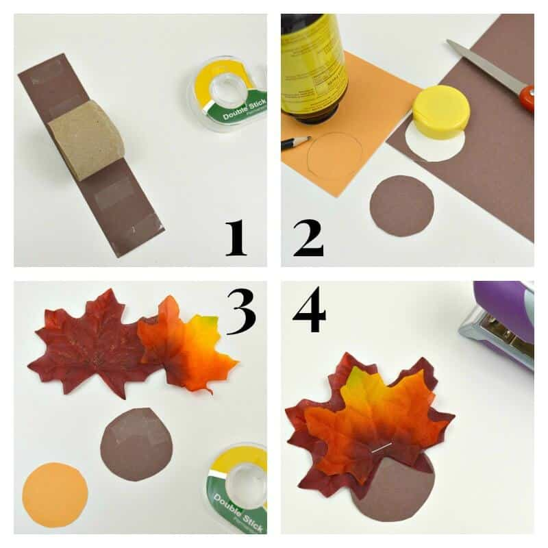 collage of 4 images of the steps of making the turkey napkin ring craft