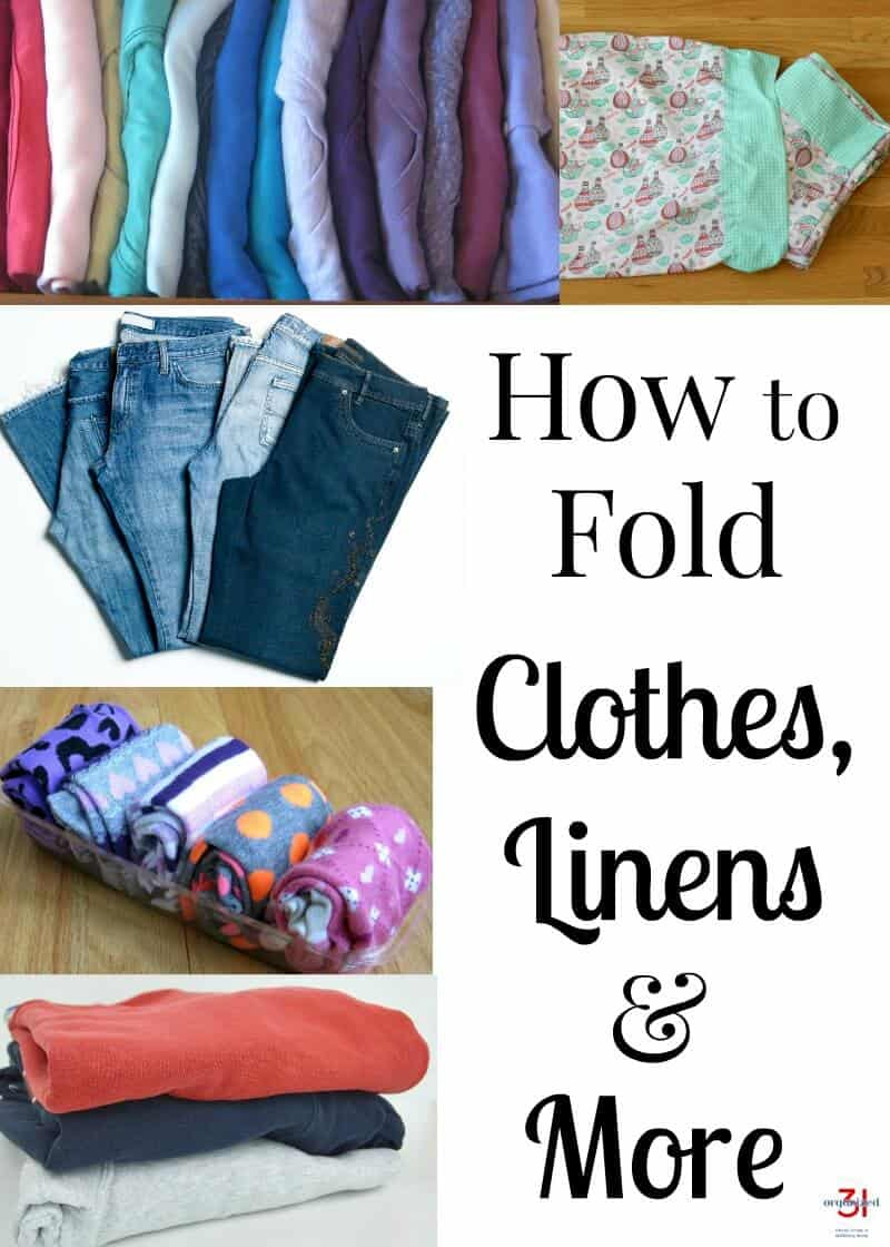 How to fold clothes, linens & more properly. Keep closets & drawers neat & as usable storage with folding tips & tricks I've used well before KonMari. #ClosetOrganizing #HowtoFold