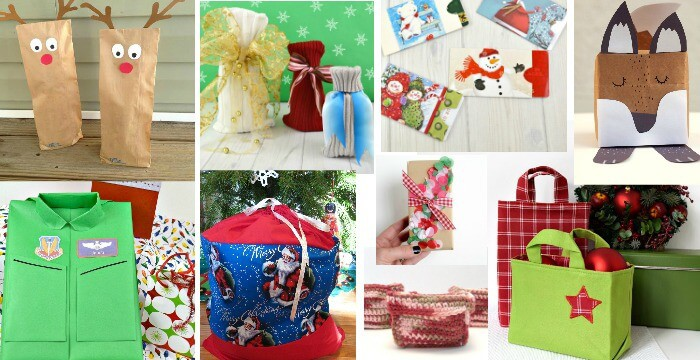 Collage of 8 Christmas gift wrap ideas