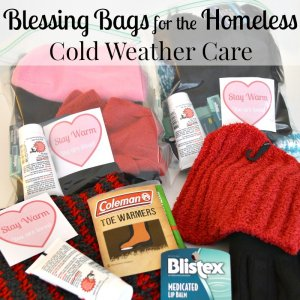 Warm weather supplies and filled blessing bags and text overlay
