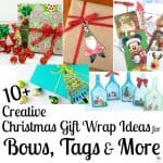 Collage of 5 images of Christmas gift wrap and bows with text overlay