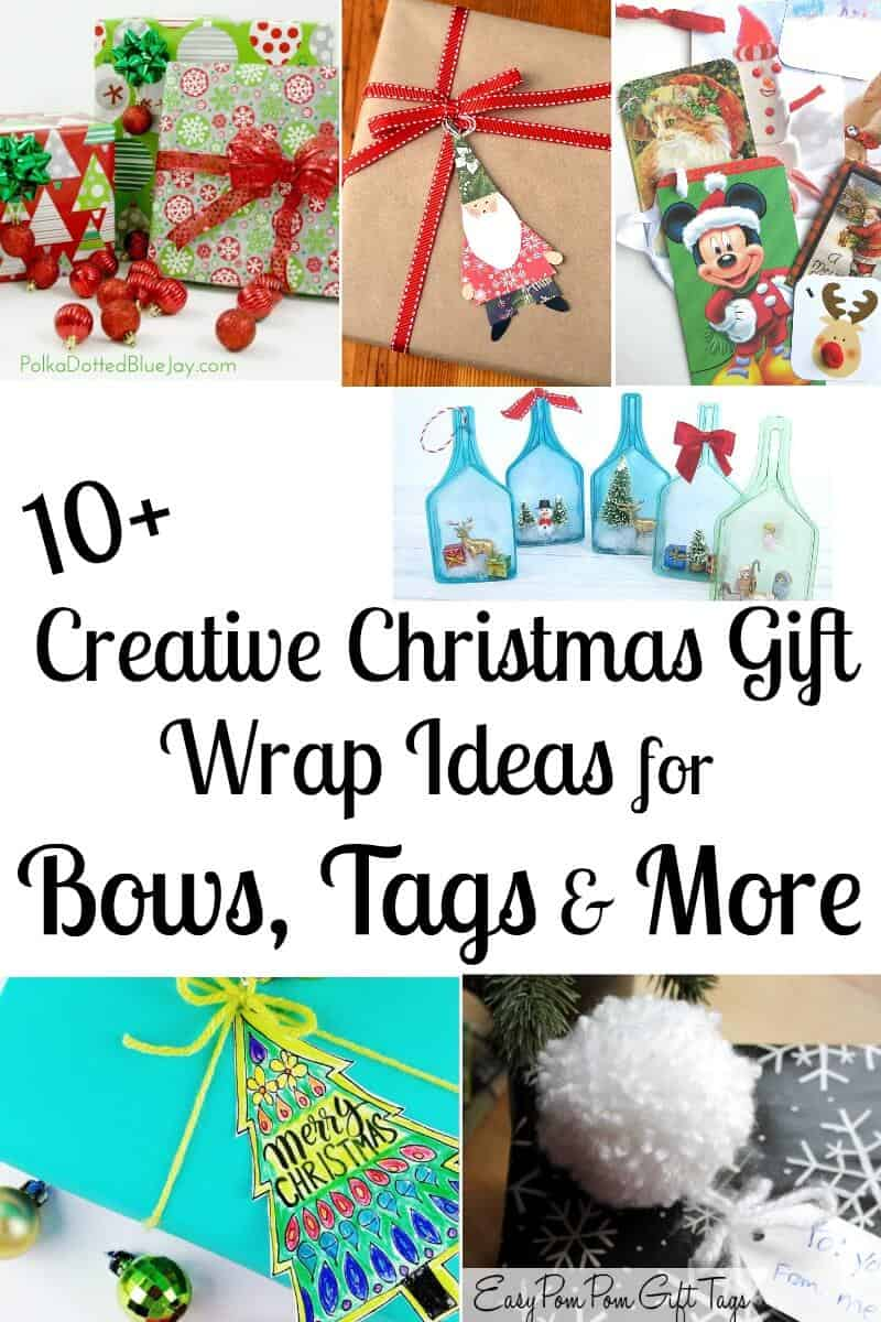 10+ Creative Christmas Gift Wrapping Ideas for bows, tags & more. Make gifts just that much more special. with these fun ideas. #Christmas #ChristmasWrappingIdeas