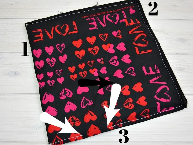 black bandana with red and pink hearts
