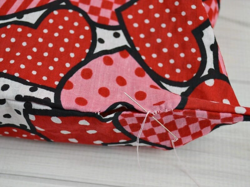 sewing opening shut on rice heating pack