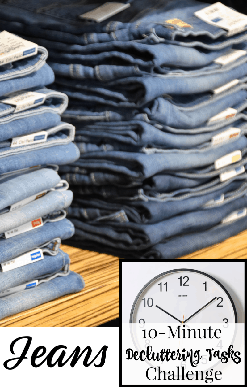 Two stacks of jeans on a shelf with text overlay reading Jeans 10-Minute Decluttering Tasks Challenge
