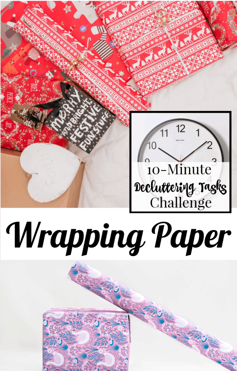 festive holiday wrapping paper with text overlay reading 10-Minute Decluttering Tasks Challenge Wrapping Paper