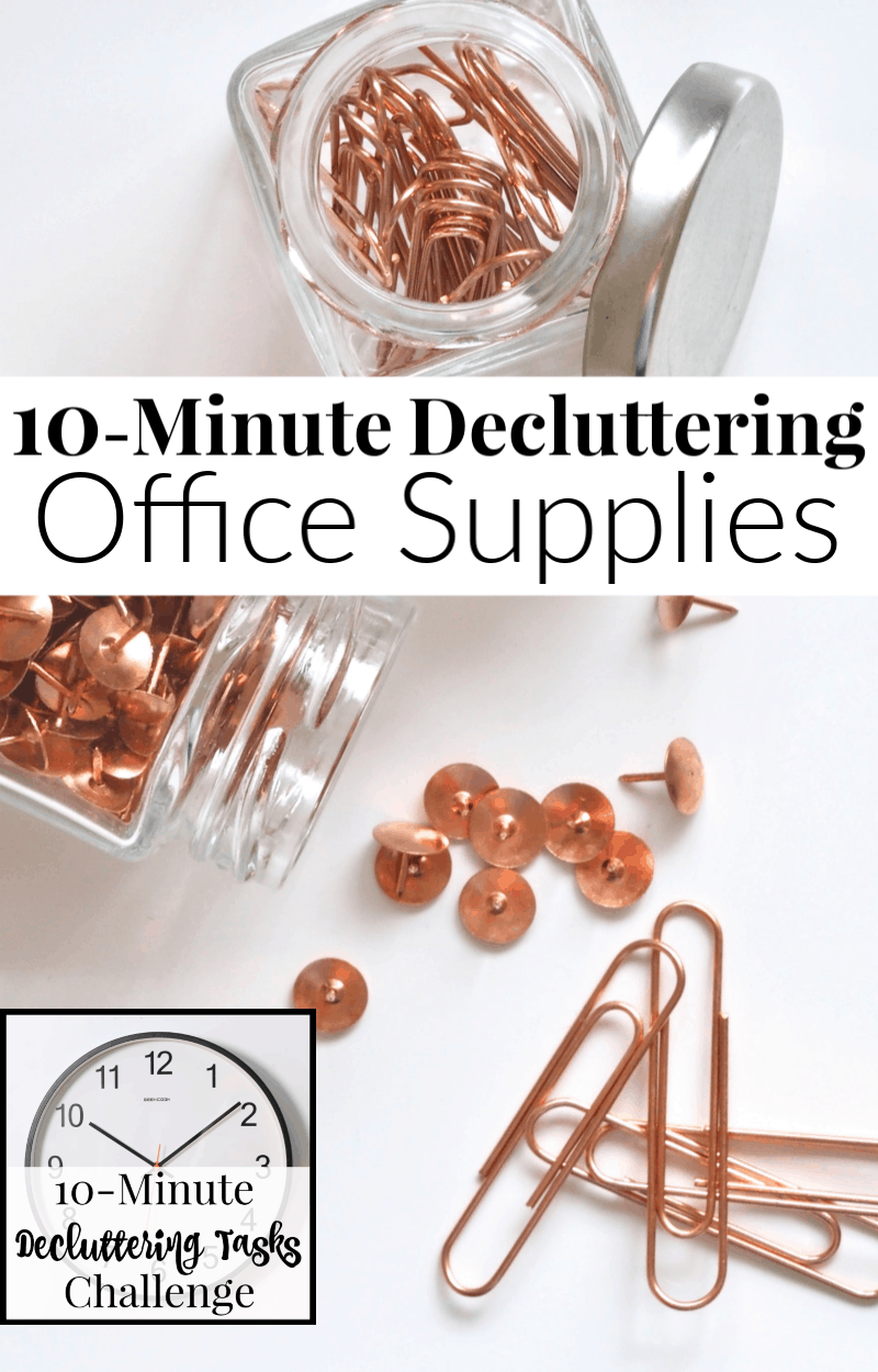 bottle of copper colored thumb tacks, copper-colored paperclips and text overlay