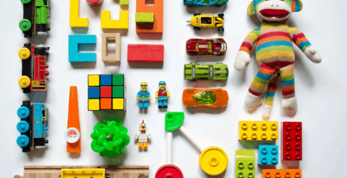 child's toys neatly organized