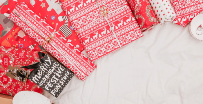 red and white Christmas wrapping paper