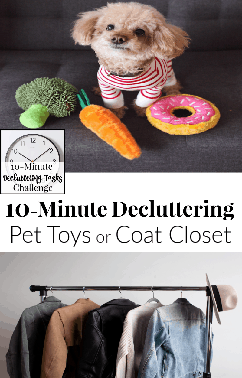 top image - dog toys, bottom image - coats hanging on a rack
