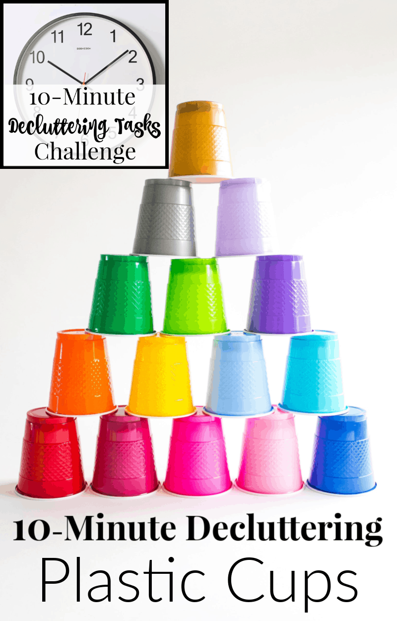 Colorful plastic cups stacked in pyramid with text overlay