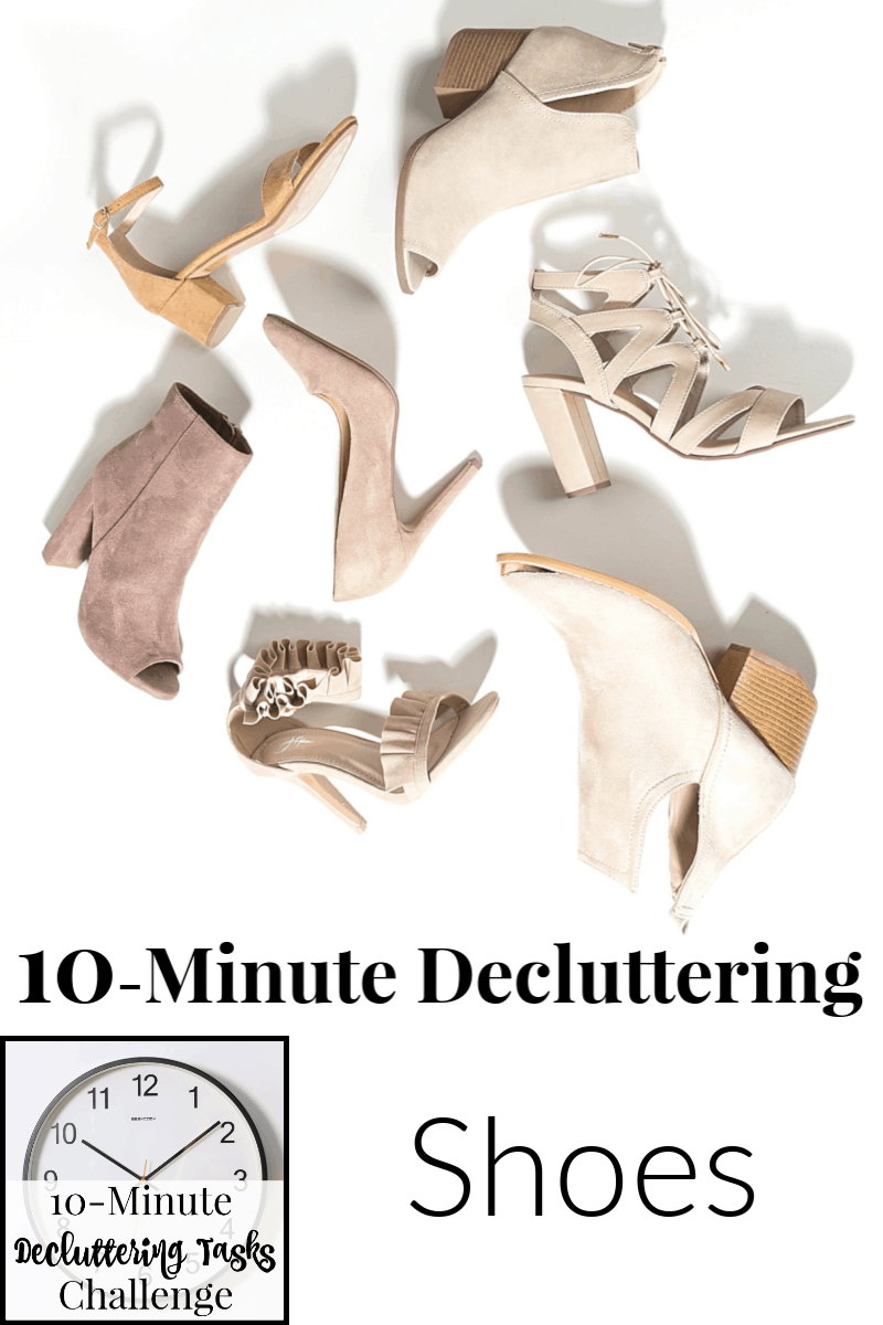 tan and cream shoes on white background with clock and text overlay reading 10-Minute Decluttering Shoes