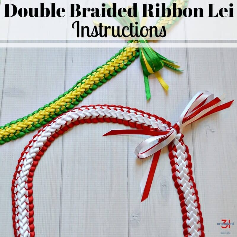 How to make a double braided ribbon lei with 4 strands of ribbon. And easy-to-follow ribbon lei tutorial perfect for Hawaiian graduation lei gifts.
