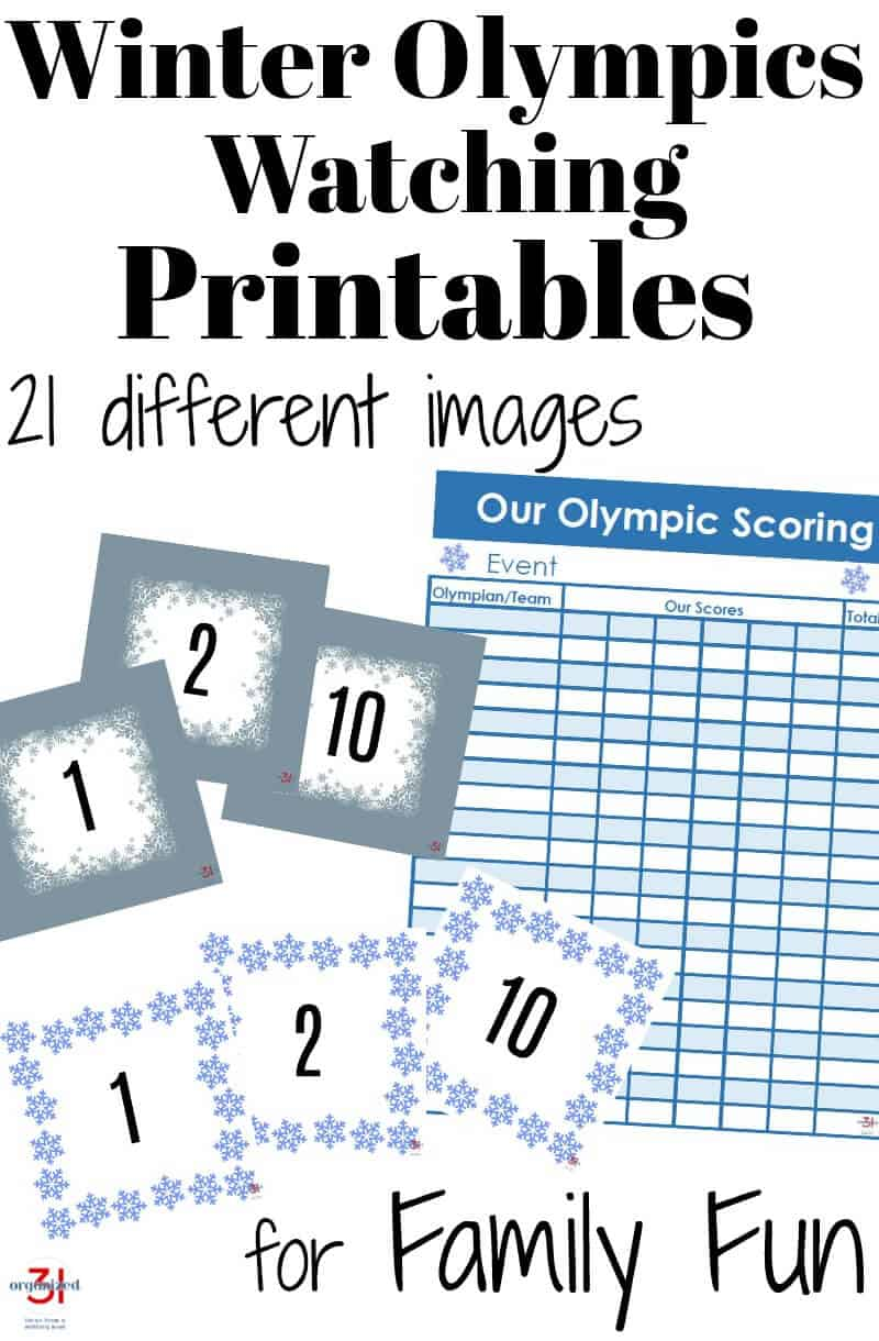 Free Printables for Family Olympics Game Watching Ideas - Watching the Olympics together as a family is even more fun with these printables.
