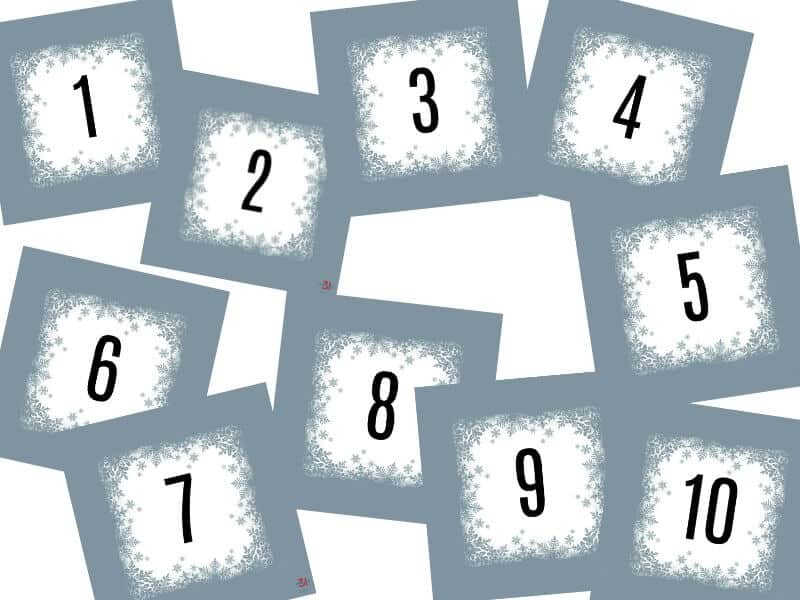 images of 10 numbered grey score cards