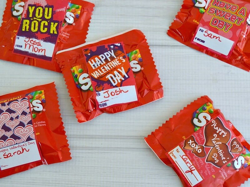Small red packages of red candy with Happy Valentine's Day stickers
