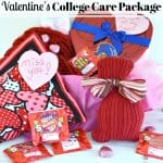 Multiple pink and red Valentine's gifts with text overlay
