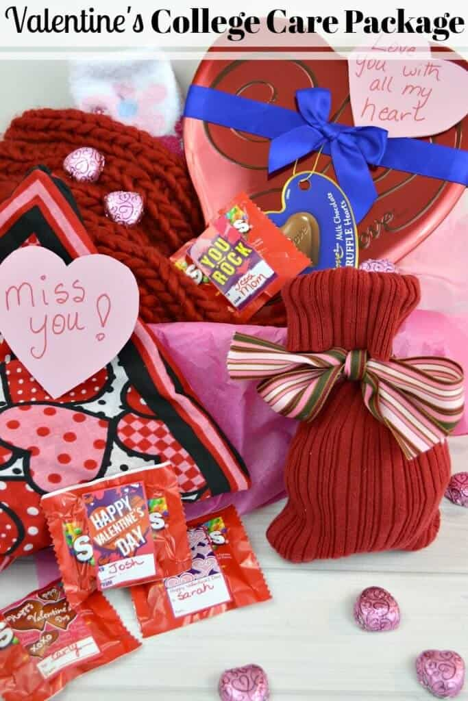 red and pink Valentine's-themed items on white table