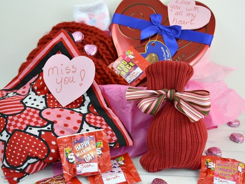 collection of red and pink gifts for Valentine's Day
